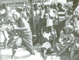 'The Cocktail Shake' being performed with musical help from Willie Cohen, Panama Dave, Mystery Cockett, Melvin Paoa, Duke Kahanamoku, Kalakaua Aylett and Jimmy Hakuole. (courtesy Charlie Lambert)