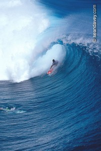 Surfing at Teahupoo, Tahiti (Photo By Sean Davey)