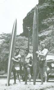 From Left:  Russ Takaki, Rabbit Kekai and Wally Froiseth at Makaha Beach in 1949.   (courtesy Wally Froiseth)
